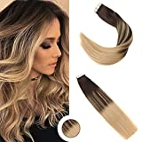 Ugeat 22 Pouces Balayage Tape in Extensions Cheveux 50Gram #2/4/12 Couleur Marron avec Couleur Blond Double Weft Ombre PU Tape in Human Hair Extensions