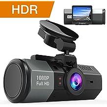 Crosstour Cámara de Coche Dash Cam 1080P Full HD 170°Ángulo Cámara para Coche G-Sensor Detección de Movimiento Grabación en Bucle HDR con Visión Nocturna