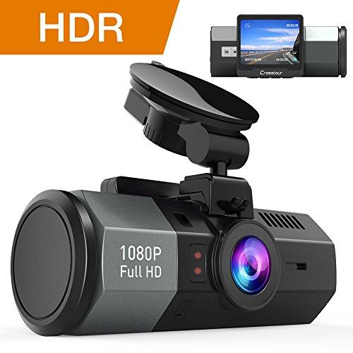 Crosstour Dashcam 1080P FHD Caméra Voiture 170° Grand-angle HDR avec 2 pouce LCD et Capteur de Gravité Enregistreur de Conduite