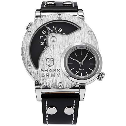 Schwarz doppelte Bewegung Gürtel Quarzuhr Mode Uhren Armbanduhr Mode Uhren Armbanduhr Designer-Uhr - schwarz