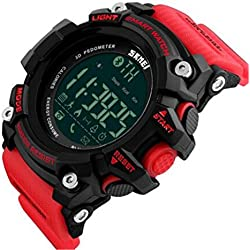 ETOWS® Men Digital Wristwatches Smart Watch Big Dial Fashion Outdoor Sport Watches Womens LED Watches Red