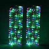 WQWLF Danza del Vientre Vistoso Seda Ventilador LED Danza del Vientre Brillante Dance Props Competición de Baile Actuación Par, One Size
