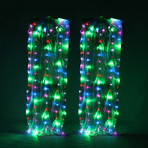 Wangmei Bauchtanz LED-Beleuchtung Ventilator Bunt Seide Fan Glühende Tanz Requisiten, Colorful, One ()