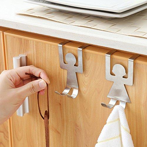2 Stücke Türhaken Edelstahl Haken für die Tür einzeln verwendbar ohne Bohren Kleiderhaken und Garder Halter (Silver) -