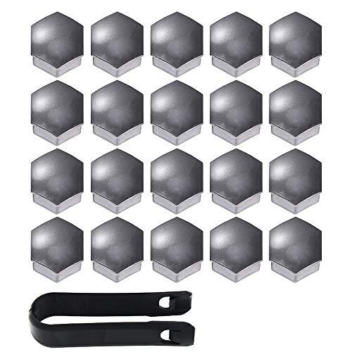 Gebildet Haute qualité Boulon Ecrou Couvre 17 mm, Capuchons Protection Hexagonal pour écrous de Roue, avec Outil Demontage (Paquet de 20, Gris)
