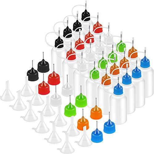 Jovitec 24 Stück 30 ml Applikator Flasche Nadelspitze Kleber mit 12 Stück Extra Applikator Tipps und 12 Stück Mini Trichter für DIY Quilling Werkzeug, 6 Farben