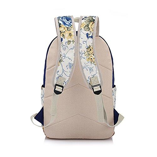 Yimidear zaino donna in tela per scuola casuale con decorazione fiore laptop entro 14 Blu scuro