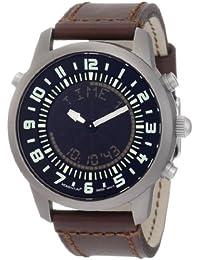 Momentum Chronologic F3 - Reloj analógico - digital de caballero de cuarzo con correa de piel marrón (alarma) - sumergible a 100 metros