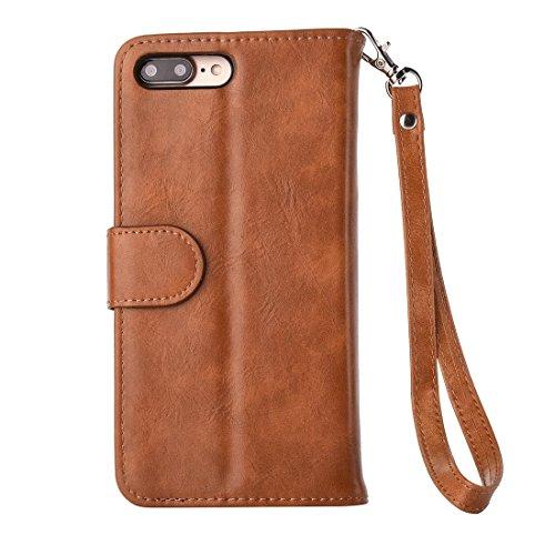 Hülle für iPhone 7 plus , Schutzhülle Für iPhone 7 Plus Trennbare Crazy Horse Texcture Horizontale Flip Reißverschluss Ledertasche mit Card Slot && Brieftasche & Foto Frame & Lanyard ,hülle für iPhone Coffee