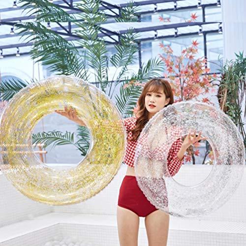 XGYUII Glitter-Schwimmen-Ring-aufblasbares Pool umweltfreundliches PVC-erwachsenes Wasser-rundes Pailletten-Schwimmen-Ring-Wasser-Spaß-Swimmingpool-Spielzeug,Silver,90cm