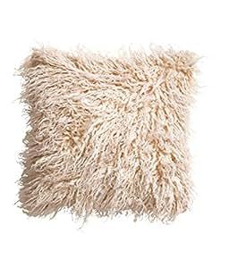 Luxury agneau Laine de Mongolie violette de coussin en imitation fourrure avec housse décorative, soyeuse carré 16 x 16 cm Fuzzy fausse fourrure Ivoire