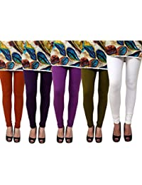 Anekaant Pack Of 5 Cotton Lycra Free Size Women's Legging -White, Brown, Violet, Purple, Dark Green