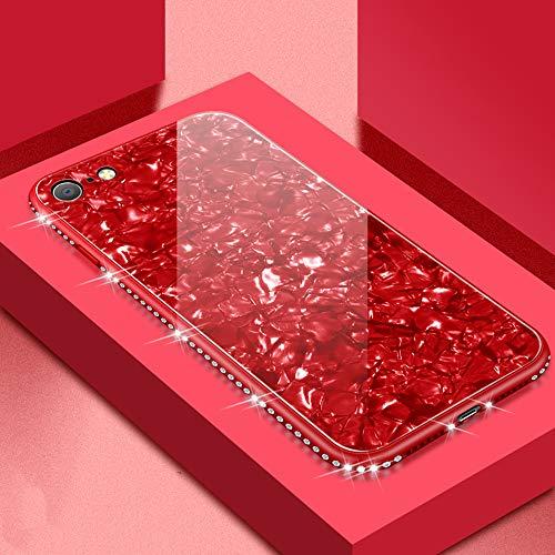 UEEBAI Hülle für iPhone 7 iPhone 8, Muschel Design Handyhülle Ultra Slim mit Eingelegt Glitzer Diamant Strass Gehärtetes Glas Zurück Abdeckung Flexible TPU Bumper Case Anti Kratzer Frauen - Rot -