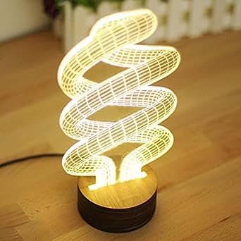 GARY&GHOST Illusion Optique Lampe LED 3D Effet Vision de Table Bureau Chevet Lumière Motif Spirale Géométrie Visuel Tridimensionnelle Créative Romantique Éclairage Light 0.5W USB Déco Ornement pour Maison Chambre Salle Café Bar