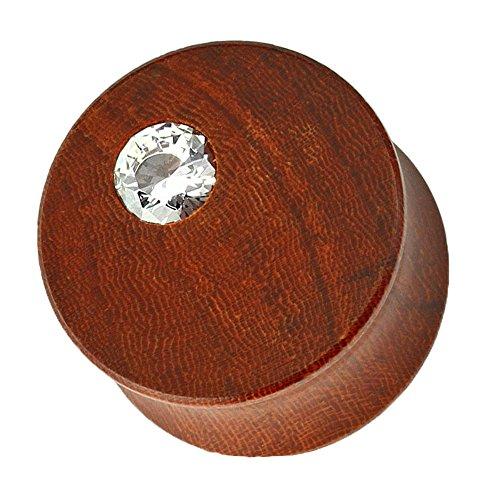 Piercingfaktor Ohr Plug Flesh Tunnel Piercing Ohrpiercing Holz Mahagoni Double Flared mit Kristall Braun 10mm