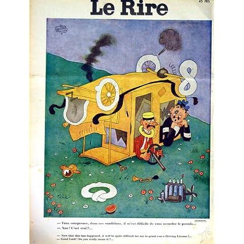 Impresión Antigua de los Hombres Franceses del Choque de Coche de la Revista del Humor de Le Rire (la Risa)
