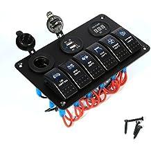6 Gang Car Marine Circuito de Barco Blue LED Interruptor Interruptor Panel Doble USB Power Cambiador + Digital Voltmeter + 12V Cigarette Lighter Power Socket