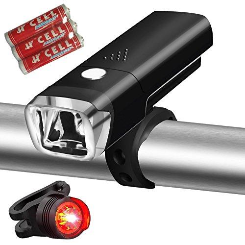 LED Fahrradbeleuchtung, Gixong Fahrradlampe Fahrradlicht Set inkl. Frontlichter und Rücklicht, 500 Lumen, 4 Licht-Modi für Berg-Radfahren, Camping und täglichen Gebrauch