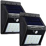 UniqueFire Solarleuchten für Außen,16LEDs Solarleuchte Gartenbeleuchtung Solarlampe mit bewegungsmelder 3 Modi, Solar Betriebene Außenleuchte Wasserdichte Wandleuchte Licht für Garten [2 Stück]