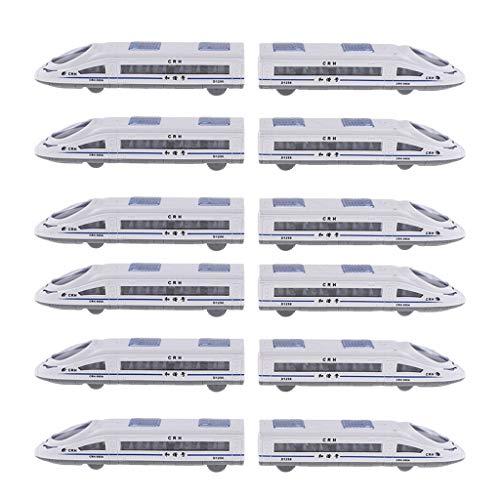 SM SunniMix 12 x Elektrische Eisenbahn Zug Spielzeug Modelleisenbahnen mit Bunt LED Licht für Kinder Geschenk