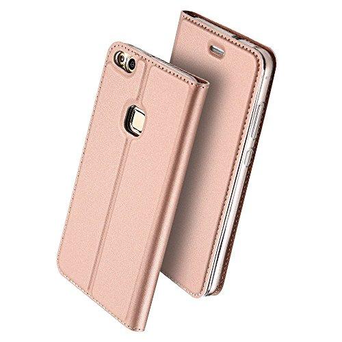 Huawei P10 Lite Hülle, Wouier® PU Flexible Leder Wallet Anti-Scratch Schutz Handy Hülle Flip Etui Schale Case Cover Tasche für Huawei P10 Lite Rose Gold