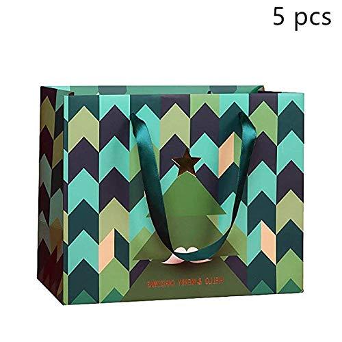 (Lvcky 5x Schnurrbart Weihnachtsbaum Papier Geschenk Beutel mit Griffen Paket Tasche Verpackung Presents Medium)