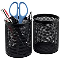 nikgic Cilindro Pen Lápiz (bolígrafo soporte organizador maquillaje soporte negro malla de Metal bote para lápices, 10cmx8cm, color Black2 Paquete de 2