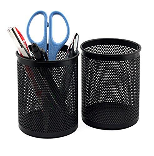 cdet 1x Stifteköcher rund schwarz Metall Mesh Pen Pot Make-up Box Container Schreibtisch Tidy Home Office Supplies Geburtstag Geschenk - 4