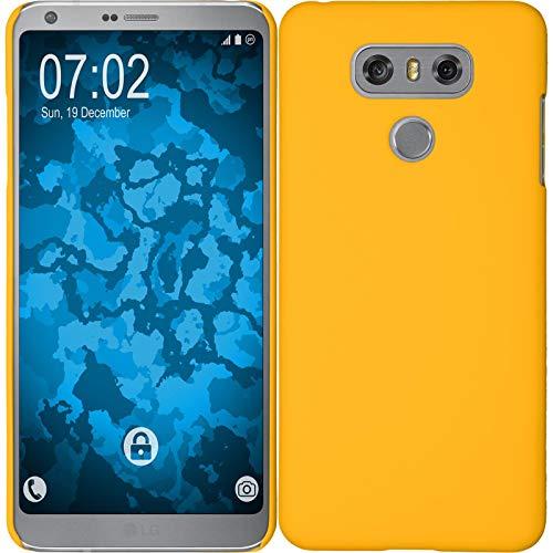 PhoneNatic Case kompatibel mit LG G6 - Hülle gelb gummiert Hard-case + 2 Schutzfolien Gelb Hard Case