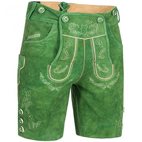 PAULGOS Herren Trachten Lederhose + Träger, Echtes Leder, Kurz in 5 Farben Gr. 44-60 HK1, Herren Größe:54, Farbe:Grün