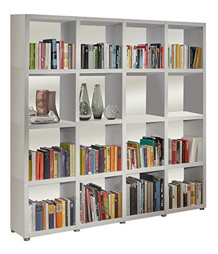 Bücherregal Raumteiler READY 44R in Weiß Seidenmatt mit Rückwand in Weiß Seid...