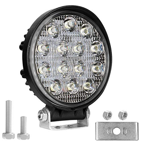 AllExtreme EX14RW1 14 LED Round Fog Light 4 Inches Waterproof Off Road Driving Lamp for Car and Motorcycle (42W, White Light, 1 PC)