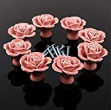 WICOO 10PCS Pink Flower Ceramic Cabinet ...