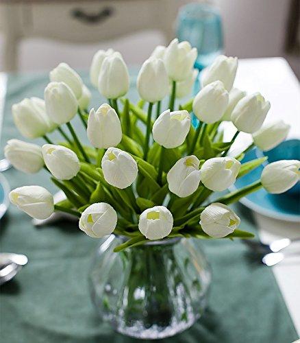 Richera 10 Stück Real Touch Latex Künstliche Tulpe-Blumen für Hochzeits -Blumenstrauß und Haus-Dekor Gartendekoration , Simulation Real Touch Bunte Tulpe für Valentinstag Geburtstag Weihnachtsgeschenk (Weiß)