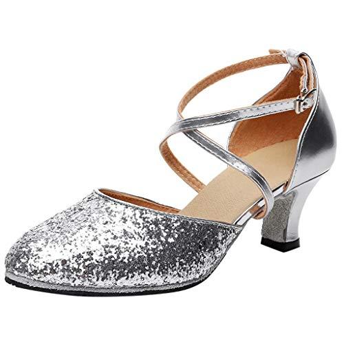 Damen Ausgestelltes Tanzschuhe/Standard Latin Rumba Waltz Prom Ballroom Dance Schuhe Satin Paillette By Vovotrade - Satin Schuhe