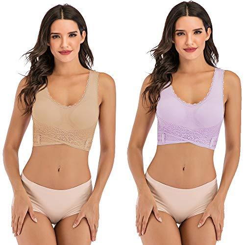 JANSION Damen BH mit seitlicher Schnalle, Spitze und Bralette, abnehmbar, gepolstert, Yoga, Lounge-BH, Bustier, Damen, Beige/Violett, Small - 4