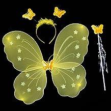 Kasit 3Pc gesetztes reizendes Partei-Kostüm-Prinzessin-Mädchen-Kind-Schmetterlings-Flügel-Stab-Stirnband-feenhaftes Weihnachtskostüm - Gelb