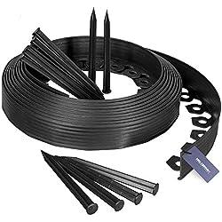 HOLZBRINK Bordures de Pelouse Bande Droite en PVC avec 20 Ancrages de Fixation, Hauteur 60 mm, Longueur 10 m, HRK02-60
