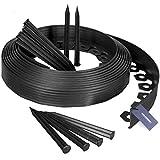 HOLZBRINK Rasenkante Wurzelsperre Flexibles PVC Band inkl. 20 Anker, Höhe 60mm, Länge: 10m, HRK02-60