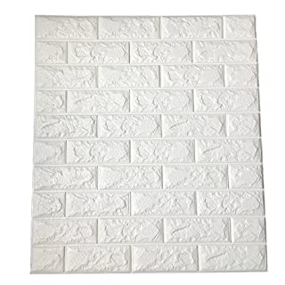 Art3d 29 Sq.Ft Peel and Stick 3D Wall Panels for Interior Wall Decor, White Brick Wallpaper, Pack of 5