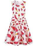 Rave on Friday Baby Kleine Mädchen Ärmelloses Kleider Rundhals Wassermelone Gedruckt Lustiges Muster Sommerkleid für Geburtstagsfeier 4-5T S