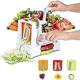Cortador en espiral,Espiralizador vegetal,Corte Cinta / Espagueti / Fettuccine para Zanahoria,Pepino,Papas y Cebolla ( 3 Cuchillas Intercambiables y un almacenamiento óptimo ) - Hommini