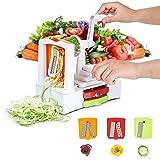HOMMINI Spiralizer mit 3-Schneideaufsätzen Gemüseschneider Premium Spiralschneider Heavy-Duty Veggie Pasta & Spaghetti Maker für Low Carb / Blass / Glutenfreie Mahlzeiten
