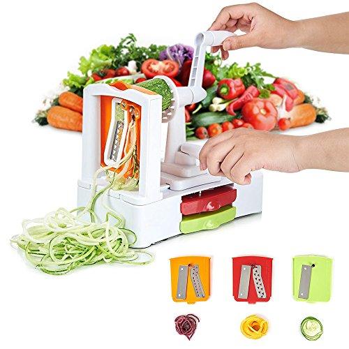 Image of HOMMINI Spiralizer mit 3-Schneideaufsätzen Gemüseschneider Premium Spiralschneider Heavy-Duty Veggie Pasta & Spaghetti Maker für Low Carb / Blass / Glutenfreie Mahlzeiten
