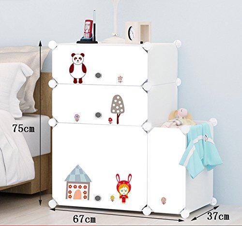 Flashing-DIY Casiers Simple Simple moderne Cabinet de chevet Avec Portes Avec Kegs, Multifonction Résine plastique ABS Chevet, Mini armoires de rangement avec des autocollants ( taille : 67*75*37cm )