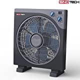 Ventilatore Box Fun da Terra Pavimento da Appoggio 3 Velocità 40 Watt Griglia Rotante 35 cm con Funzione Timer Sinotech