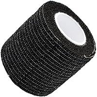 UxradG garza elastica, 5*450cm self-adherent bendaggio elastico tessuti non tessuti Tattoo–Trattamento primo soccorso Pet Vet Wrap self Adherent Cohesive Bandages (6colori), Nero