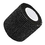 UxradG - fascia, autoaderente ed extra aderente, elastica, in tessuto non tessuto, per primo soccorso e per veterinari, coesa, 5 x 450 cm, 6 colori, Nero