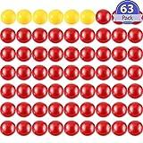 63 Pezzi Marmi di Ricambio del Gioco 3 Set Gioco Palle di Sostituzione Compatibili con Mangia Ippo, 57 Palle Rosse e 6 Palle Gialle
