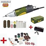 PROXXON MICROMOT Industrie-Bohrschleifer IBS/E Set mit elektronischer Drehzahlregelung und kugelgelagerter Spindel - inklusive 34 PROXXON Einsatzwerkzeuge, 6-tlg. PROXXON Spannzangensatz, Koffer und 105-tlg. SILVERLINE Zubehörset